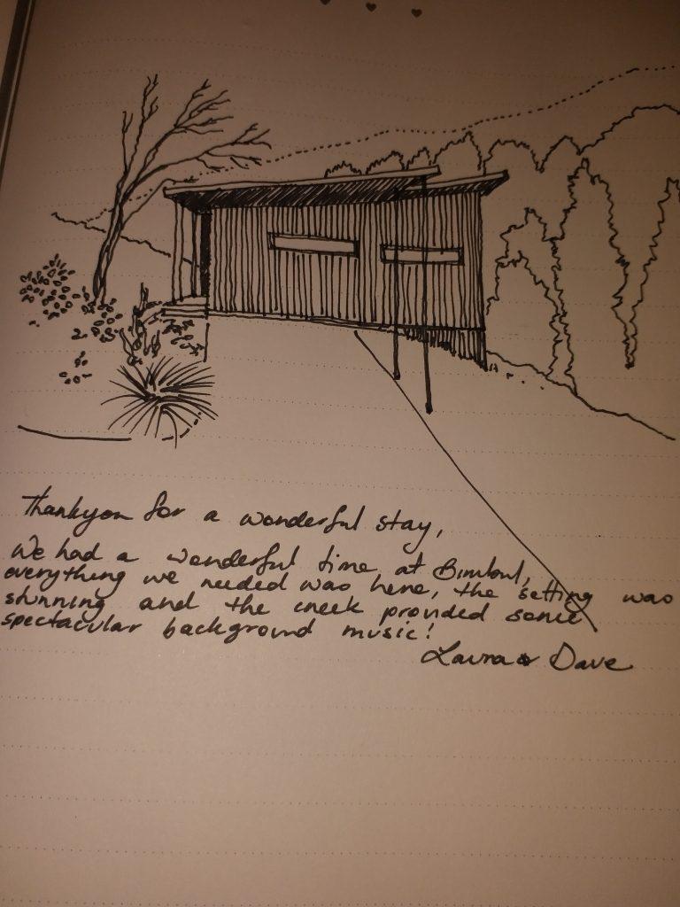 Guest Testimonial regards accommodation in cabin, Bimbul, at Wongari, Lamington National Park, Scenic Rim